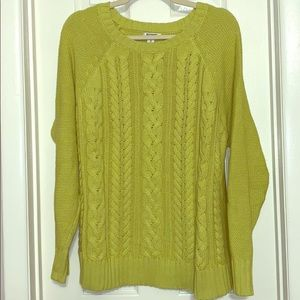 Old Navy lime green cable knit sweater xl